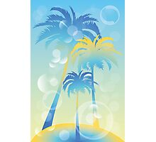 Tropical island - illustration with palm trees and bubbles  Photographic Print