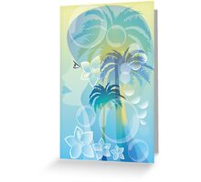 Tropical woman - abstract illustration with beautiful girl, palm trees, hibiscus flowers and bubbles Greeting Card