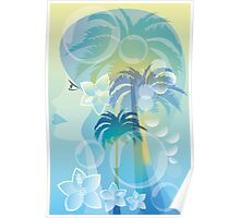 Tropical woman - abstract illustration with beautiful girl, palm trees, hibiscus flowers and bubbles Poster