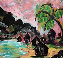 Tropical Village by Kate Delancel Schultz