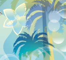 Tropical woman - abstract illustration with beautiful girl, palm trees, hibiscus flowers and bubbles Sticker