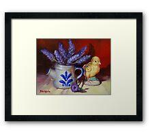 Chicken And Lavender Still Life Framed Print