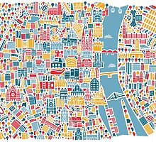Cologne City Map Poster by Vianina