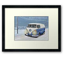 CHRISTMAS VW CAMPER VAN SNOW SCENE. Framed Print