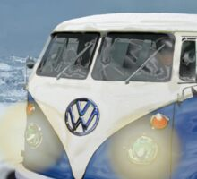 CHRISTMAS VW CAMPER VAN SNOW SCENE. Sticker