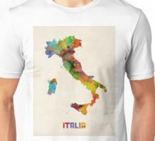 Italy Watercolor Map, Italia Unisex T-Shirt