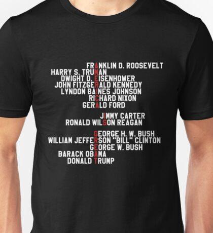 AMERICA IS GREAT! 14 last presidents name black shirt Unisex T-Shirt