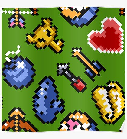 Legend of Zelda A Link to the Past / items / pattern / green hat Poster