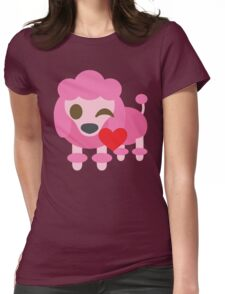 Pink Poodle Dog Emoji Flirting and Blowing Kiss Womens Fitted T-Shirt