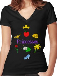 Princesses Women's Fitted V-Neck T-Shirt