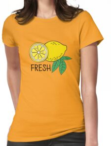 Pattern with bananas and lemons Womens Fitted T-Shirt