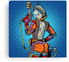 Girl space marine science fiction retro Canvas Print