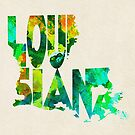 Louisiana Typographic Watercolor Map by Deniz Akerman