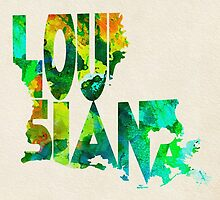 Louisiana Typographic Watercolor Map by A. TW