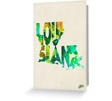 Louisiana Typographic Watercolor Map Greeting Card