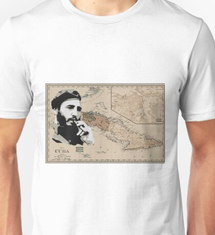 Cuba Map with Fidel Unisex T-Shirt