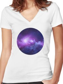 CIRCULAR SPACE Women's Fitted V-Neck T-Shirt