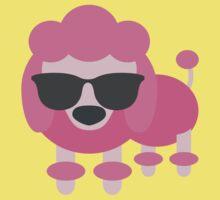 Pink Poodle Dog Emoji Cool Sunglasses Look Kids Tee