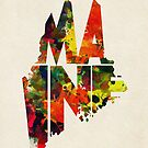 Maine Typographic Watercolor Map by A. TW