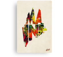 Maine Typographic Watercolor Map Canvas Print