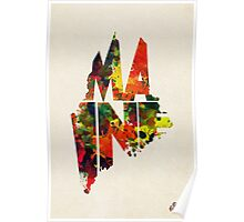 Maine Typographic Watercolor Map Poster