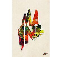 Maine Typographic Watercolor Map Photographic Print