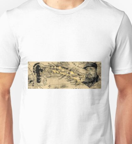 Jose Marti and Castro on Map of Cuba Unisex T-Shirt
