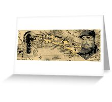 Jose Marti and Castro on Map of Cuba Greeting Card