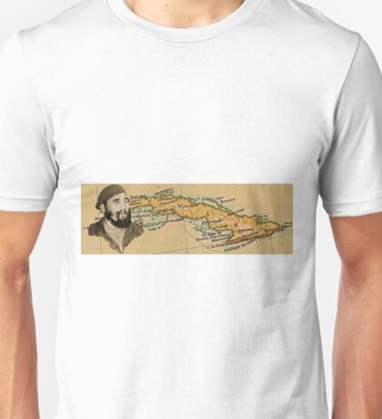 Fidel Castro on Cuba Map Unisex T-Shirt