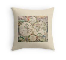 Antique Map of the world (Part of a set) Throw Pillow