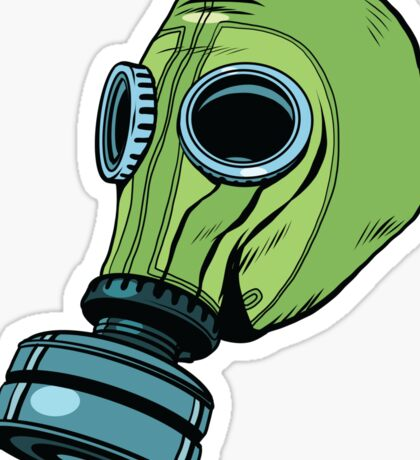 Gas mask, vintage rubber green Sticker