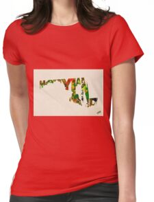 Maryland Typographic Watercolor Map Womens Fitted T-Shirt