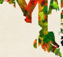Maryland Typographic Watercolor Map Sticker