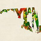 Maryland Typographic Watercolor Map by Deniz Akerman