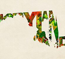 Maryland Typographic Watercolor Map by A. TW