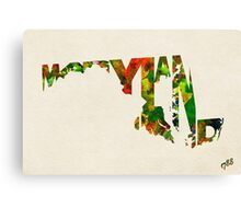Maryland Typographic Watercolor Map Canvas Print