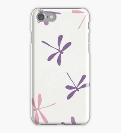 Dragon Fly Pattern in White, Pink and Purple iPhone Case/Skin