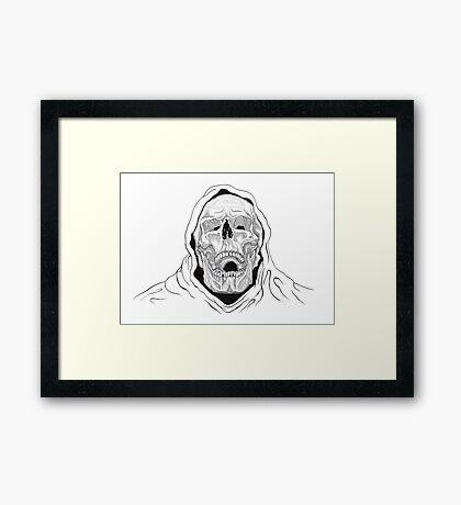 Skeletor black and white - pen and ink  Framed Print