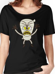 Scary Halloween Mummy Emoticon Women's Relaxed Fit T-Shirt