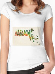 Massachusetts Typographic Watercolor Map Women's Fitted Scoop T-Shirt