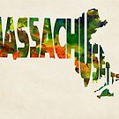 Massachusetts Typographic Watercolor Map by Deniz Akerman