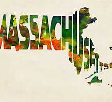 Massachusetts Typographic Watercolor Map by A. TW