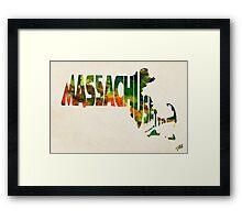 Massachusetts Typographic Watercolor Map Framed Print