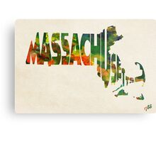 Massachusetts Typographic Watercolor Map Metal Print