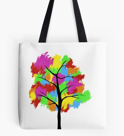 Rainbow Pixel Tree Tote Bag