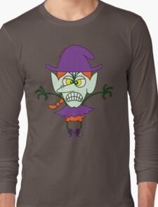 Scary Halloween Witch Emoticon Long Sleeve T-Shirt