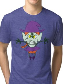 Scary Halloween Witch Emoticon Tri-blend T-Shirt