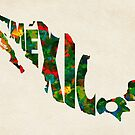 Mexico Typographic Watercolor Map by Deniz Akerman
