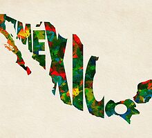 Mexico Typographic Watercolor Map by A. TW