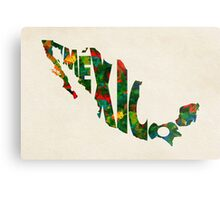 Mexico Typographic Watercolor Map Metal Print